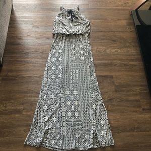 Adrienne Vittadani Black & White Tribal Sun Dress